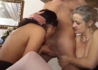 Two sisters are sucking their brother's hard dick