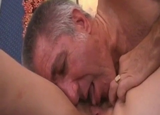 My lovely dad eats my juicy shaved cunt
