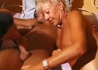 Blonde and brunette are sucking their uncle's dick