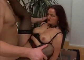 Mother in stockings gets impaled in the missionary pose