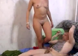 Blonde sister gives her uncle an awesome blowjob