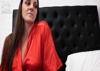 Stepmom in red robe pleases her lovely stepson