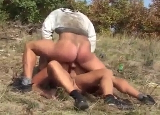 Outdoor incest DP sex with a bleached stepmom