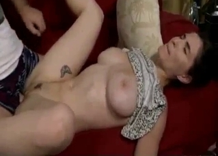 Big-tit sister likes her brother's hard boner